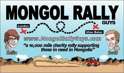 Mongol Rally Guy's Business Card